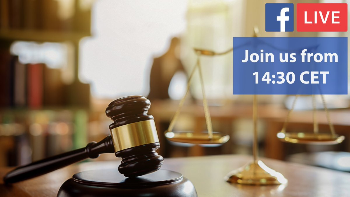 Joins us today from 1⃣4⃣:3⃣0⃣ - on Facebook - for our webinar on defending & promoting the #RuleofLaw. We'll tackle challenges & solutions on key topics, from independence of #justice systems to fair trials. Follow us live here 👉https://t.co/pkpg4xwkBg. https://t.co/ftxDo4t7Kg