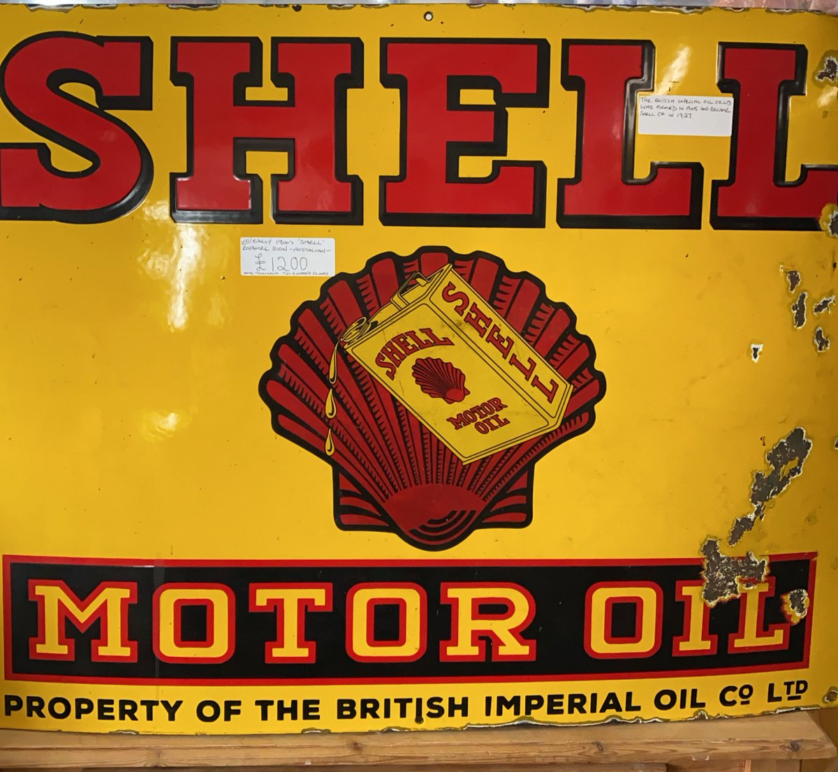 The British imperial oil co ltd was formed in 1905 and became Shell co in 1927. Early 1900 Shell enamel sign. Australian #shell #shellaustralia  #britishimperialoilco #enamelsign #astraantiquescentre #enamel #hemswell #lincolnshire #newstock https://t.co/DyD5xW5gwk