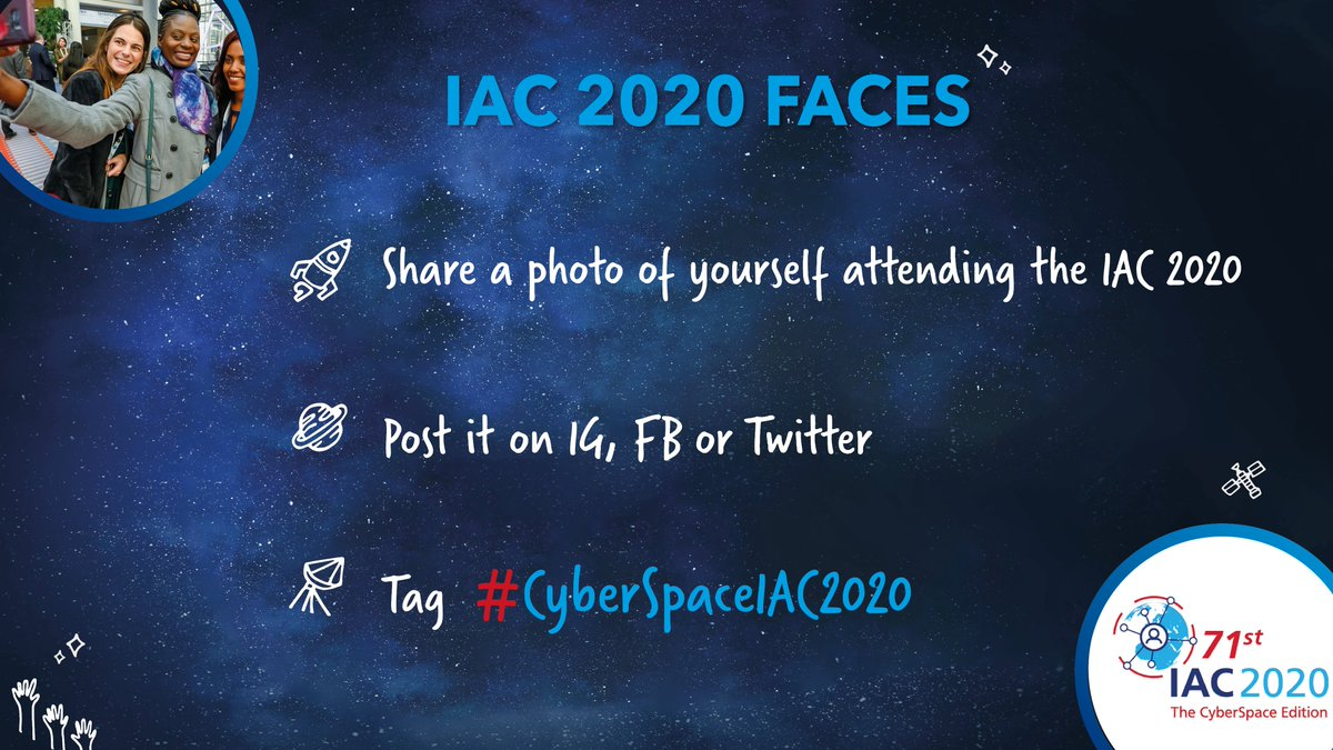 IAC Delegates, we would love to see more pictures of everyone who is connecting from all over the world! Share a photo of you attending the virtual IAC and post it under the official hashtag #CyberSpaceIAC2020!