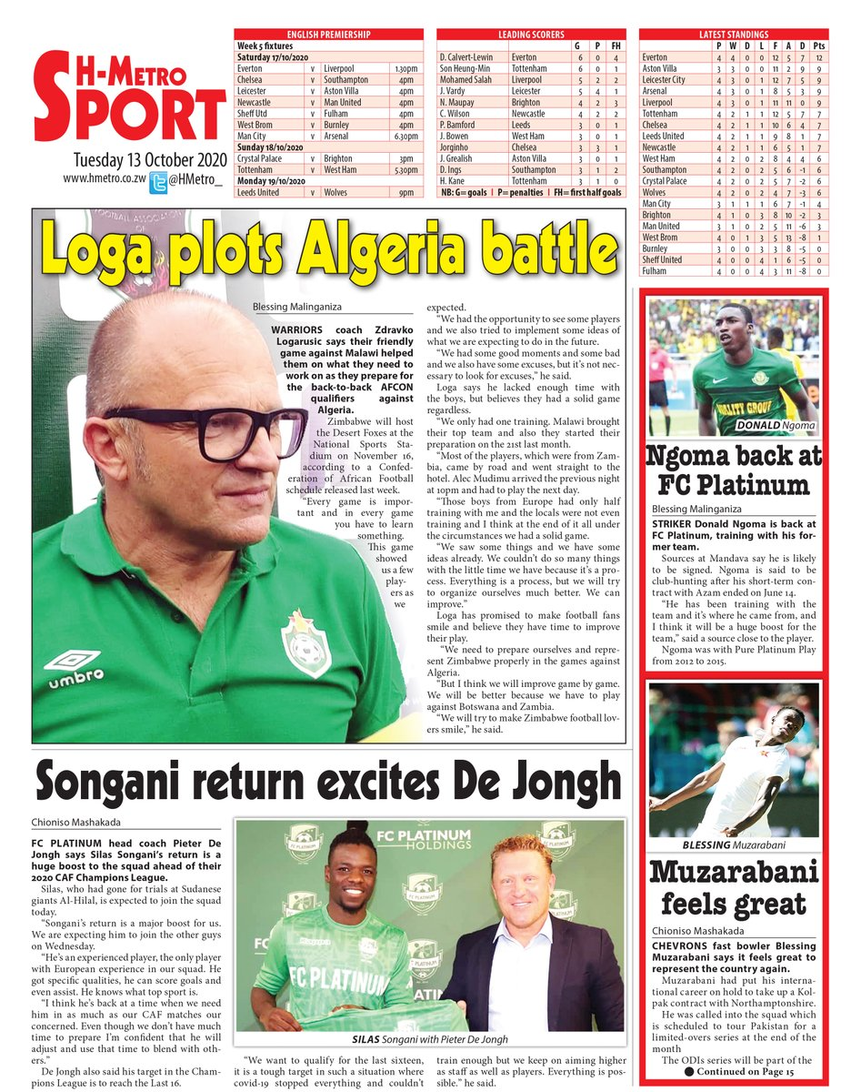 Todays @HMetroSport : 🔴LOGA PLOTS ALGERIA BATTLE 🔴SONGANI RETURN EXCITES DE JONGH 🔴NGOMA BACK AT FC PLATINUM 🔴MUZARABANI FEELS GREAT: Read more @ hmetro.co.zw