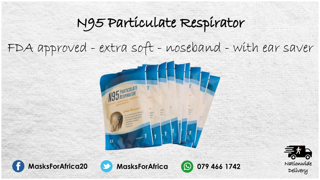 N95 Particulate Respirator with Ear Saver  * locally manufactured * FDA approved * up to 95% bacterial filtration * earloop * contain 1 ear saver/mask * MOQ 50 units  #MasksForAfrica #facemask #mask #shieldofhonour #PPE  #ppesupplies #N95 #disposablefacemasks #disposable https://t.co/garfdXXmSF