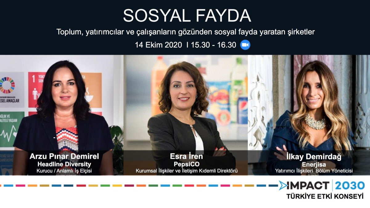 Bugün IMPACT2030 Türkiye Etki Konseyi'nin 15:30'da gerçekleştireceği, Kurumsal İlişkiler ve İletişim Kıdemli Direktörümüz Esra İren'in konuşmacı olarak yer alacağı Sosyal Fayda konulu paneline linkten ulaşabilirsiniz. https://t.co/rjDlz3Vnj6 https://t.co/HAgnSAPWF9
