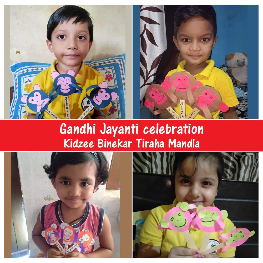 "Kidzee Binekar Tiraha Mandla students celebrated Gandhi Jayanti by creating art around Gandhiji's Three wise monkeys representing the principle ""see no evil, hear no evil, speak no evil"".  #Kidzee #KidzeeStudents #GandhiJayanti #MahatmaGandhi #Gandhiji #Monkeys #Art #Activity https://t.co/DoTVEuq9Vj"