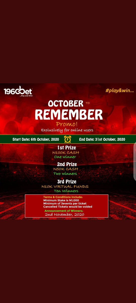 October To Remember!!! @Official1960Bet will be giving 100k, 50k & 10k betting credit for 10 lucky online customers. #1960BetRefresh
