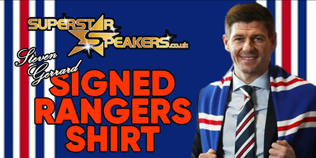 One of Britain's all time greats has signed a shirt from one of Britain's biggest clubs Current #Rangers manager #StevenGerrard has signed these Glasgow Rangers Shirts for Superstar Speakers - and they can be yours  https://t.co/VGZ4YDTbRy https://t.co/RSpSgHqVuX