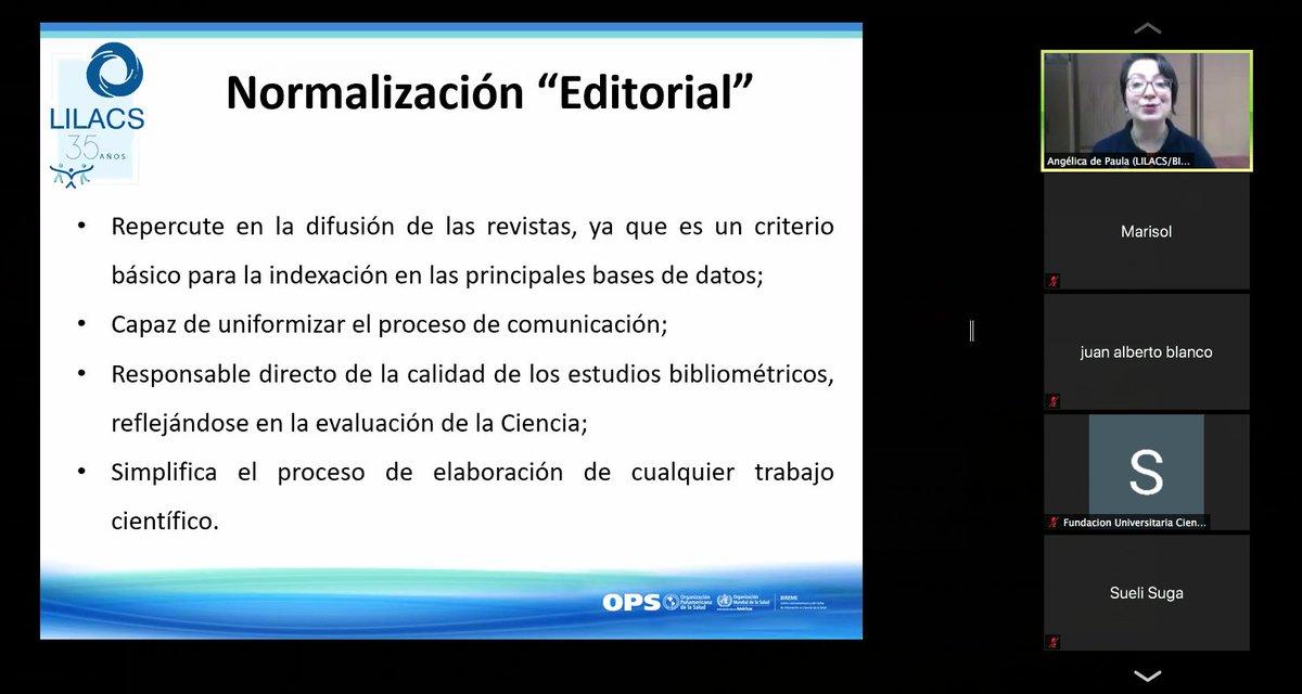 Hoy continuamos @UnirecsJornadaXXIII @redelilacs en este momento Taller Impacto y relevancia de la normalización para indexación en #LILACS.  Angélica de Souza Alves de Paula https://t.co/VGVgH9t1e9 https://t.co/CDfMDop3UD