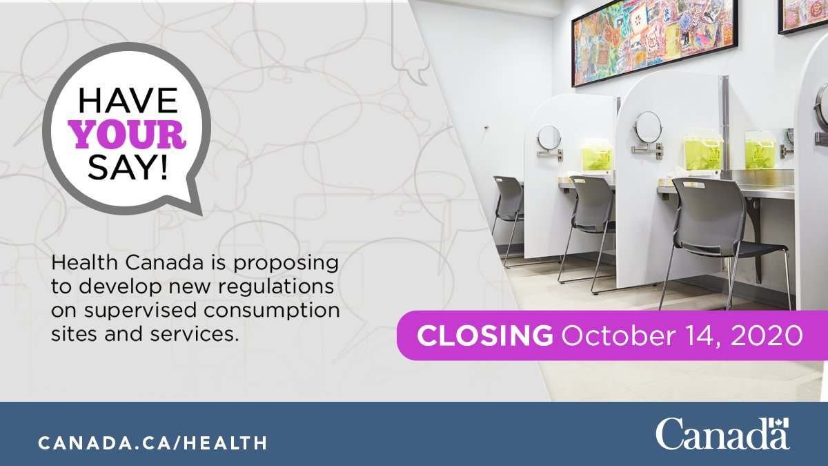 Thanks for your feedback for the development of proposed new regulations for #supervisedconsumption sites and services. Today is the last day to participate in the consultation. ow.ly/CirM50B2N4A #harmreduction #overdosecrisis #CanadaGazette