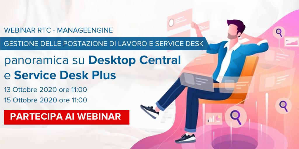 """Il #software più adatto a gestire e monitorare il personale, in epoca smart, è il prodotto di @ManageEngine """"Desktop Central"""" ✊  Per scoprirne tutte le funzionalità approfitta e partecipa al #webinar che terrà @RTC SPA domani alle ore 11.00 ⏰🔽  https://t.co/syi8CWQyg8 https://t.co/USLtOInCfU"""