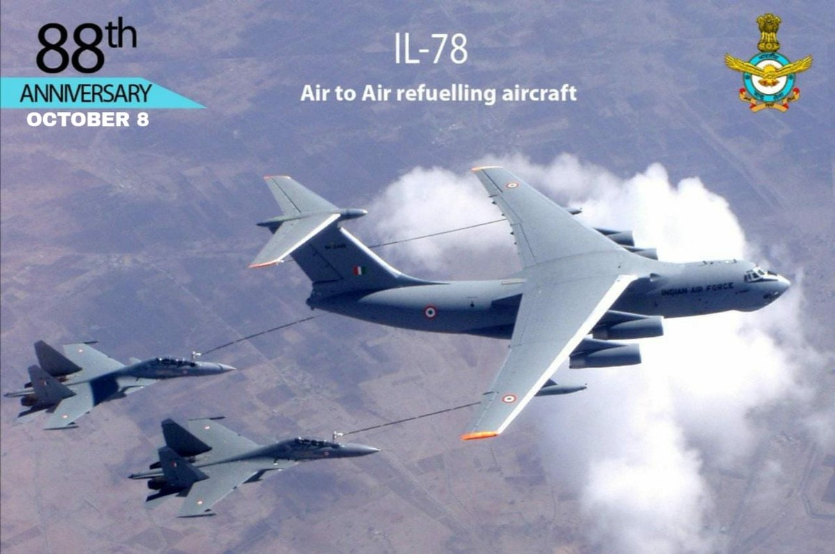 #AFDay2020: IL-78 Tanker - The IL-78 is a four-engine air-to-air refuelling tanker and military transport aircraft, capable of carrying out aerial refueling, air drop and air landing of cargo & crew. #KnowTheIAF #IndianAirForce