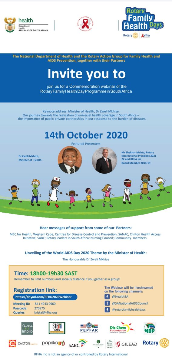 #WebinarAlert #ChekaImpilo #Rotary  JOIN us this evening for this engagement led by Minister of @HealthZA, @DrZweliMkhize alongside Rotary International President-Elect Dr Shekhar Mehta & SANAC Co-Chair @msletsike. Registration is instant on this link: https://t.co/BI3KT31OPG