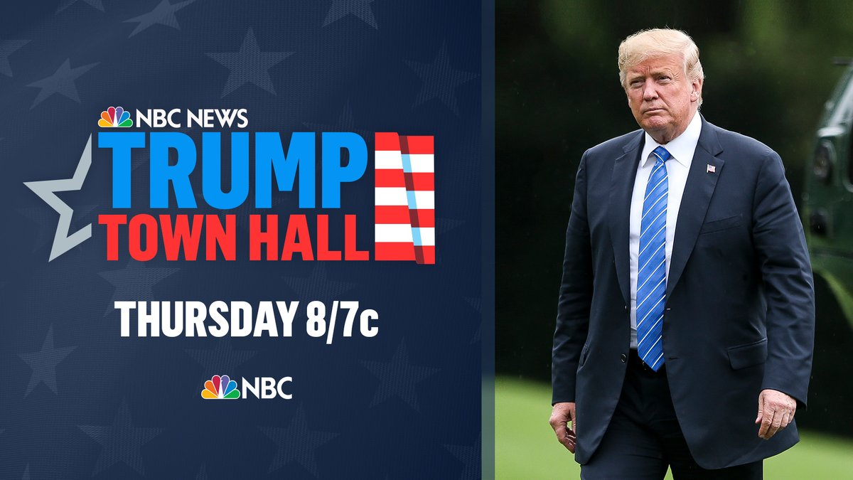 The one-hour town hall will follow the same format and will air in the time slot as NBC News' town hall with Democratic presidential nominee Joe Biden held last Monday, Oct. 5.