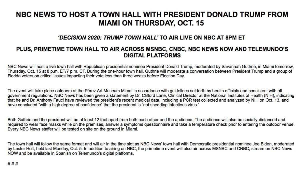 .@NBCNews will host a live town hall event with President Trump, moderated by @SavannahGuthrie tomorrow at 8 p.m. The event is set to take place outdoors and accordance with guidelines set forth by health officials.