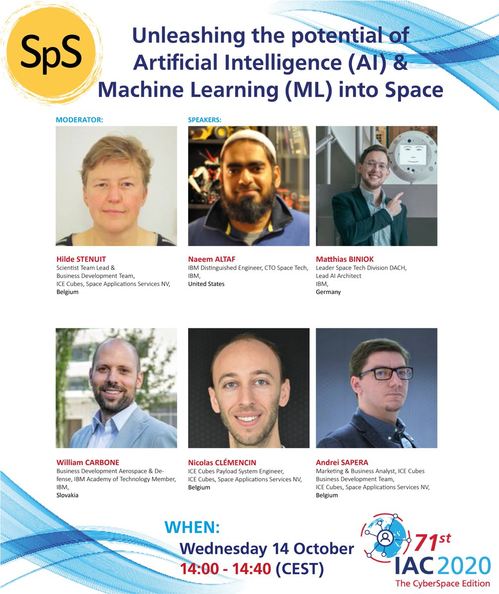 Live session on Space 4.0 and AI/ML coming up soon! This special session will be interactive so please make sure to connect to Sli.do and participate in the discussion. Dont miss it at 14:00! #SpS #CyberSpaceIAC2020