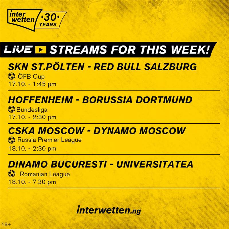 Watch and bet on games this week on #InterwettenNG. Check out selected matches for live stream this week, here: 👉bit.ly/3fsf1oX #SayYeah #Bettingisoursport #ThePioneer #Bundesliga