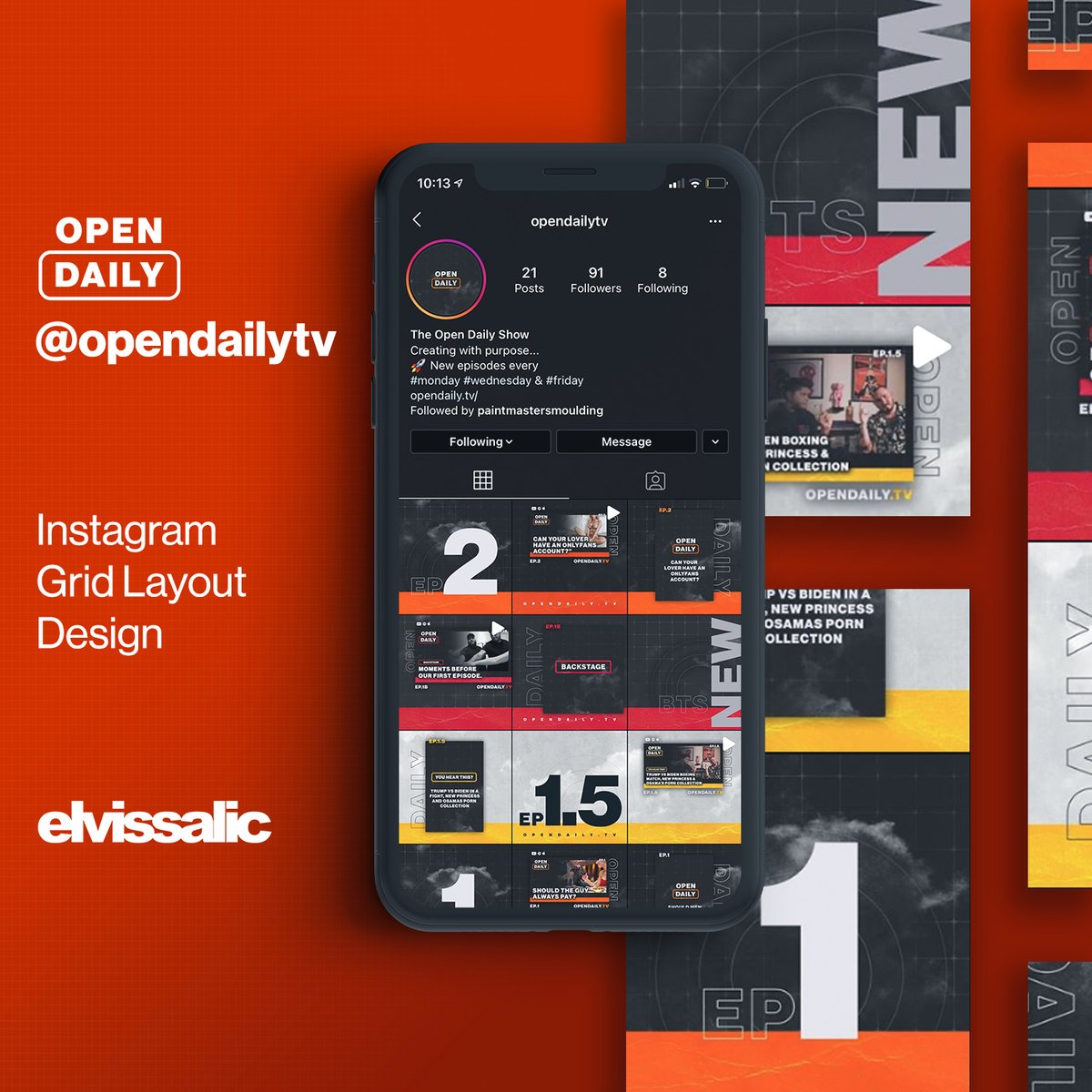 Instagram grid layout design for @opendailytv  #graphic #design #graphicdesign #instagram #promotion #grid #promo #socialmedia #barber #photoshop #designforhire #podcast #instagramwall #walldesign #digitaldesigns https://t.co/LZfXsRSaam