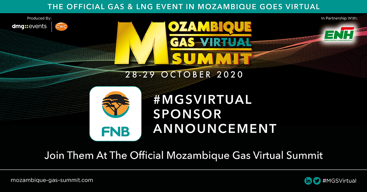 The Mozambique Gas Virtual Summit in partnership with Empresa Nacional de Hidrocarbonetos EP (#ENH) is proud to announce FNB as a #sponsor of #MGSVirtual.  To find out more visit: https://t.co/d5L1BJvIsH  #AfricaEnergySeries #WorldLNGSeries #dmgEvents #virtualsummit https://t.co/hRlmXbn9sU