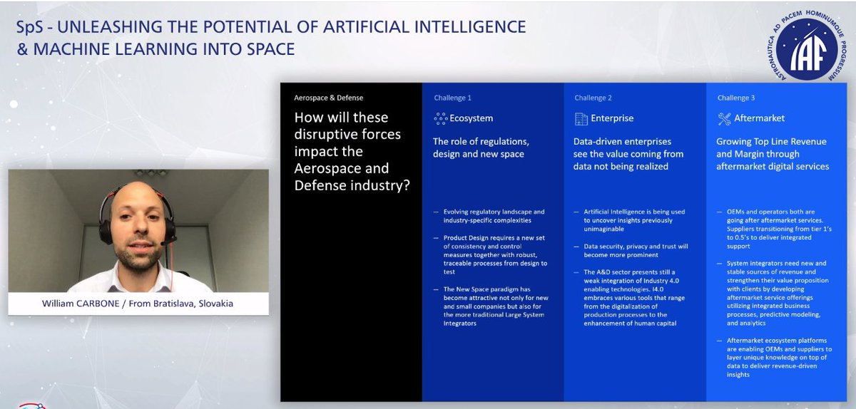 How will disruptive forces impact the Aerospace and Defense industry? #SpS #IAC2020 #ecosystem #AI - great presentation by William Carbone