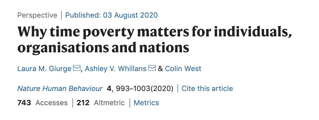 """""""Billions of dollars are spent each year to alleviate material poverty, while time poverty is often ignored or exacerbated"""" - this one struck a cord!  A Review in @NatureHumBehav https://t.co/Oj4wnfC34A https://t.co/qS7d5HFKxe"""