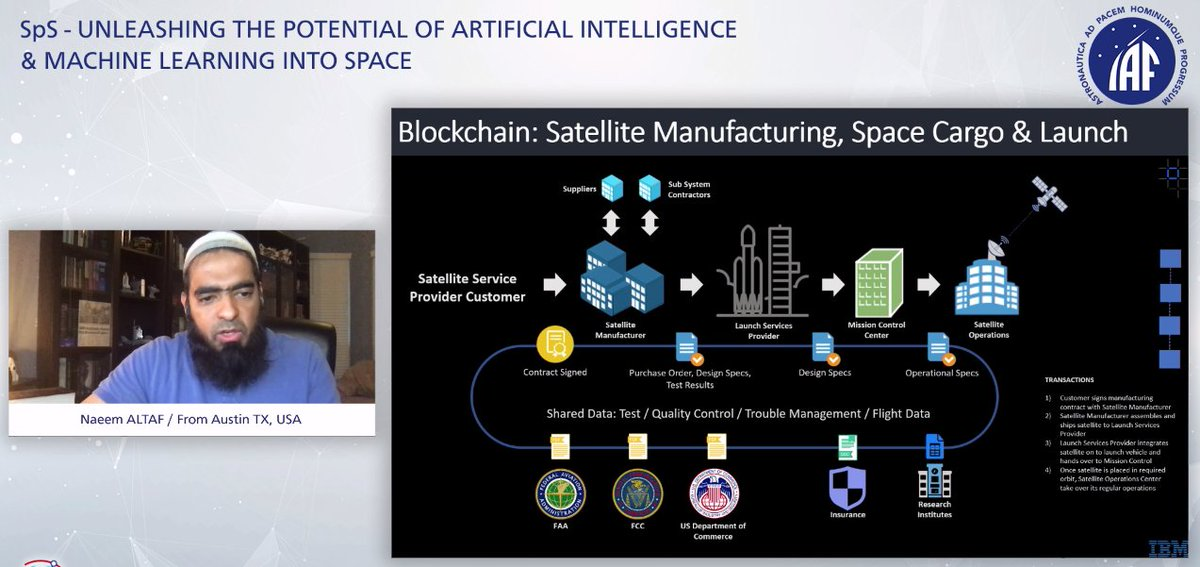 Blockchain use cases for satellite manufacturing, space cargo & launch - by Naeem Altaf, Distinguished Engineer, CTO Space Tech, IBM. #CyberSpaceIAC2020 #blockchain #spacesector