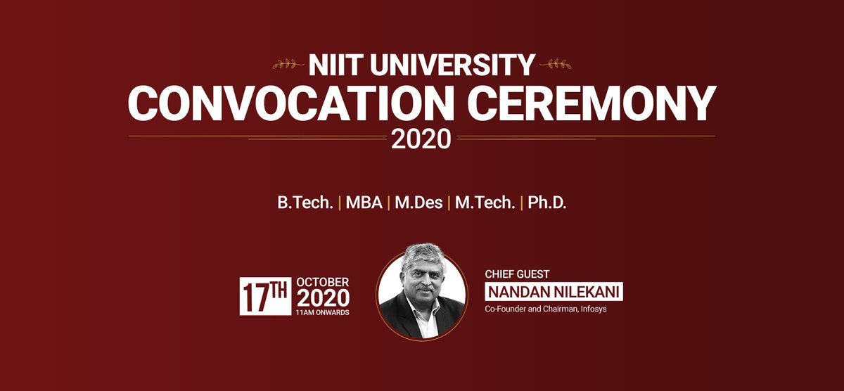 We are delighted to announce the Convocation Ceremony for the Class of 2020! 298 students shall be graduating from NU and stepping out into the professional world.  We are also thrilled to have @NandanNilekani as the Chief Guest of the occasion.  #NUConvocation2020 #FutureIsHere https://t.co/GJPZB96yrm