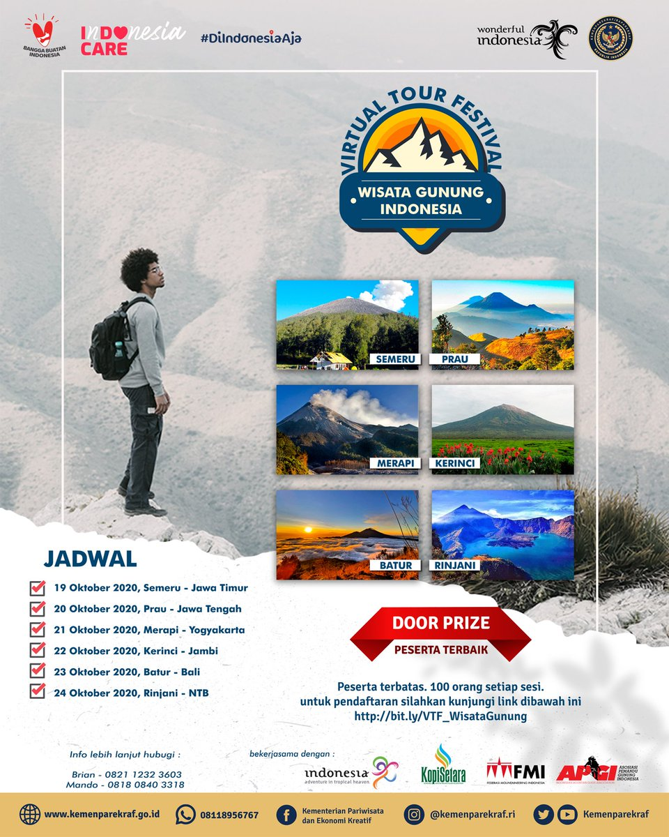 Virtual Tour Festival Wisata Gunung Indonesia 2020.   Sebuah acara jelajah destinasi wisata gunung di Indonesia yang dilakukan secara virtual.   Daftarkan diri Kamu sekarang juga melalui :  https://t.co/o1U2RGLDoK  #wonderfulIndonesia #KopiSetara #APGI #FMI #virtualtourfestival https://t.co/nd5BYn47gy