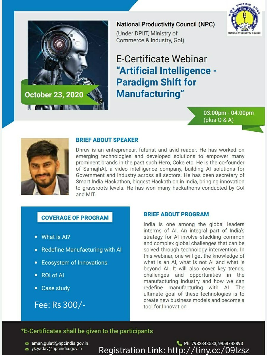 """Join Webinar on """"Artificial Intelligence-A Paradigm Shift in Manufacturing"""" and learn how #AI is going to revolutionize the Manufacturing Sector. 23 Oct 