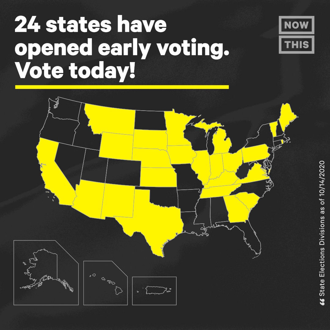You can vote now in Arizona, California, Georgia, Iowa, Indiana, Illinois, Kansas, Kentucky, Maine, Michigan, Minnesota, Montana, Nebraska, New Mexico, Ohio, Rhode Island, South Carolina, South Dakota, Tennessee, Texas, Vermont, Virginia, and Wyoming.