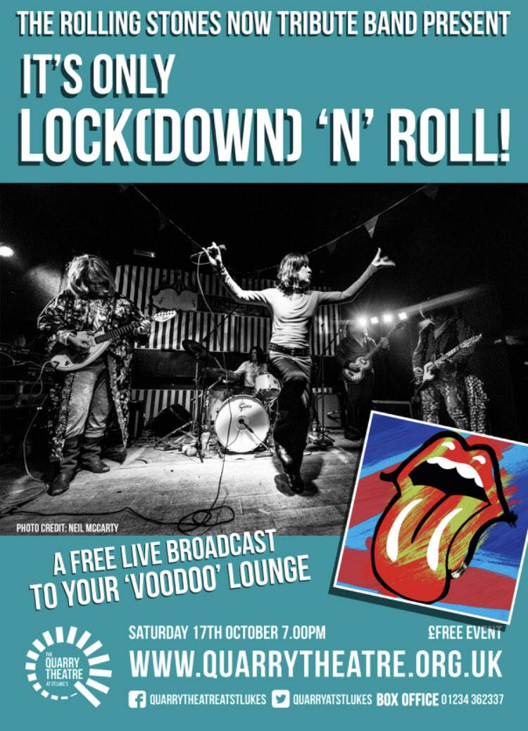 This Saturday at 19.00 FREE virtual gig live from the @quarryatstlukes with help from @FLM_Ltd It's only Lock(down) 'n' Roll #livemusic #rollingstones #mickjagger #keithrichards #WeMakeEvents #Bedford #gig