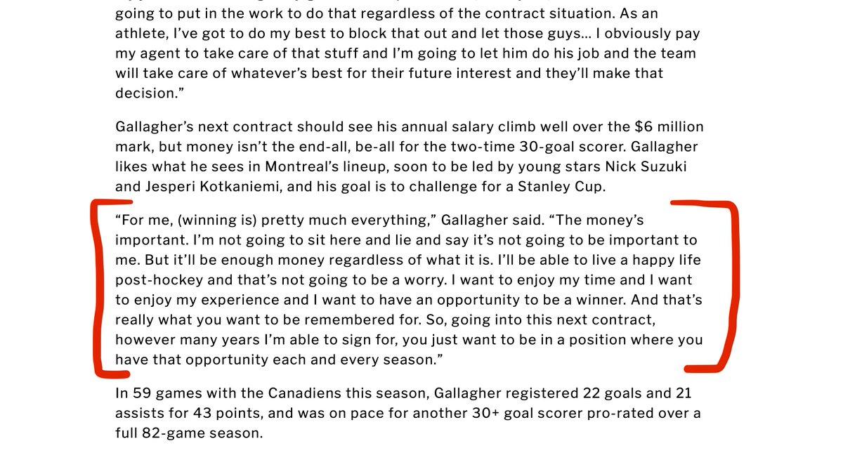 Lisez cette citation de Brendan Gallagher. Vraiment de la difficulté à croire qu'il est frustré de voir Marc Bergevin améliorer le Canadien plus que n'importe quelle équipe de sa division... C'est ce qu'il voulait : être dans une position pour gagner. https://t.co/5kJOYwlUgh