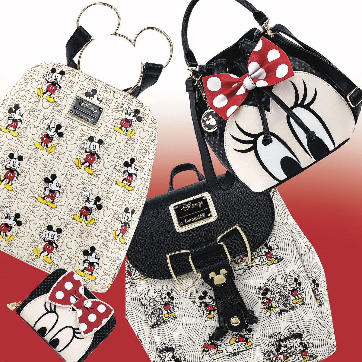 """""""Our newest Mickey and Minnie collection is full of amazing hardware and details and it's available now! Check out the whole collection at Loungefly.com! """""""