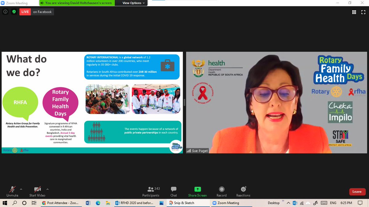 @RFHD_ZA  Live webinar.  Sue Paget CEO -Rotary Action Group for Family Health & AIDS prevention sharing the history of RFHD #IKnowMyStatus #StaySafe #WorldAidsDay #ChekaImpilo Live streaming on Facebook: @HealthZA  @SANationalAidsCouncil @rotaryfamilyhealthdays