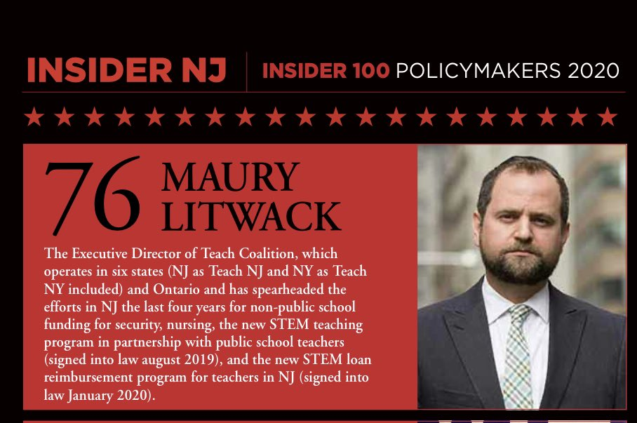 Congratulations to @mlitwack on being named to @INSIDER__NJ top NJ policymakers list. #TeachNJ continues to make great strides ensuring all NJ students, including those in nonpublic schools, receive equitable support to achieve success.