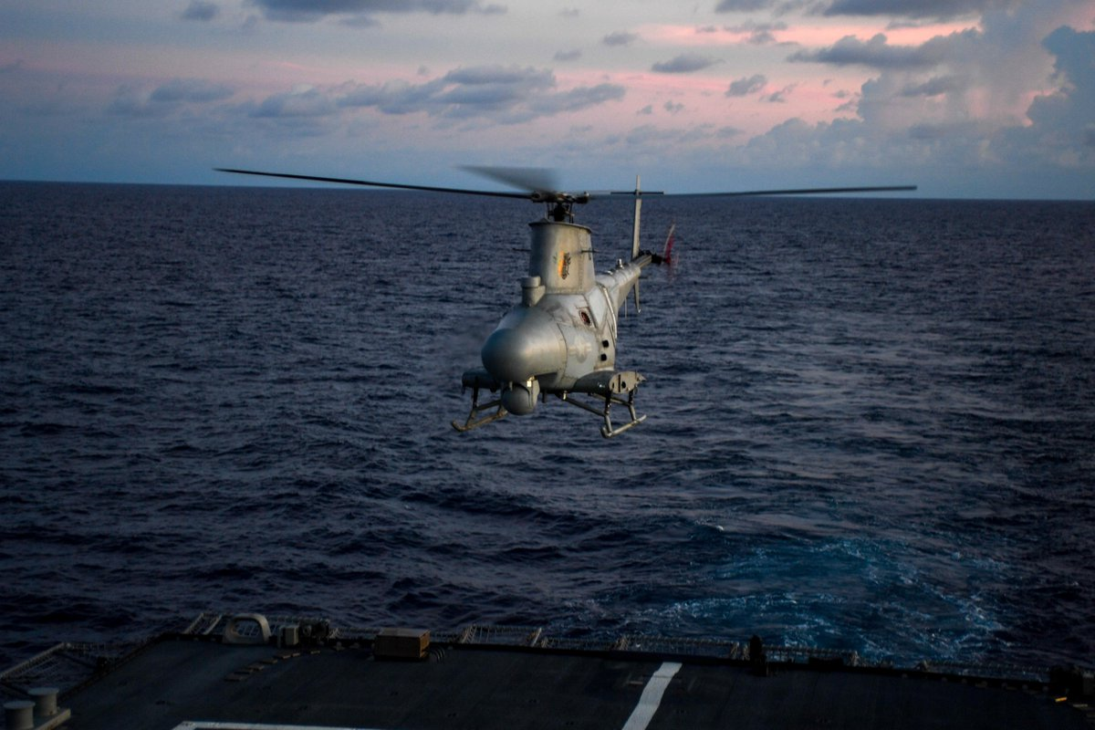 An MQ-8B Fire Scout launches from the flight deck of #USSSiouxCity (LCS 11) Oct. 10. Sioux City is deployed to the @NAVSOUS4THFLT area of operations to support #CounterDrugOps in the Caribbean & Eastern Pacific. #EnhancedCN