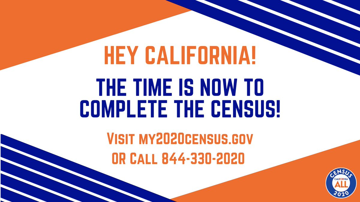 According to the U.S. Census Bureau, the last day to complete the Census is TOMORROW, October 15th. Complete the #2020Census TODAY by visiting my2020census.gov or calling 844-330-2020. Together we can work toward a complete and accurate count. #CaliforniaforAll