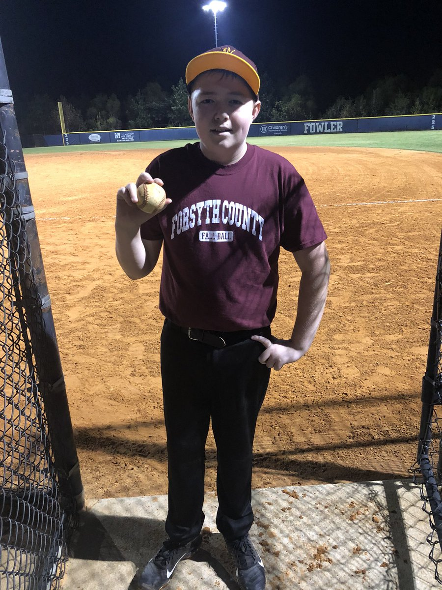 Caleb showing off his game ball from last night! He had his first hit where for a minute the thought that this may leave the Park was really there! #GameBall