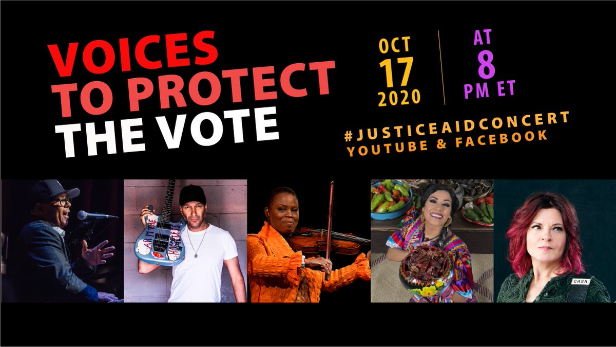 """Tonight's the night to make our voices heard! Join us at 8PM ET on YouTube and Facebook for """"Voices to Protect the Vote,"""" in support of @866OURVOTE!   Featuring @IvanNeville @tmorello @liladowns @Regina_Carter @rosannecash! https://t.co/ATwNkp4BRN  #JusticeAidConcert https://t.co/QjiZdTjnmS"""