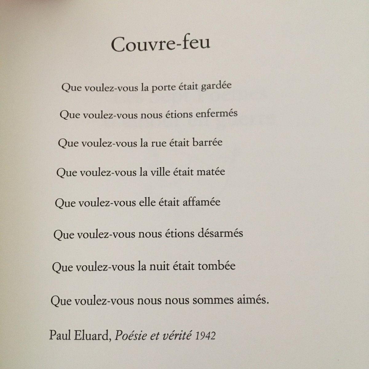 Replying to @TancredeB: Couvre-feu.   Paul Eluard.  Un peu de poésie ❤️