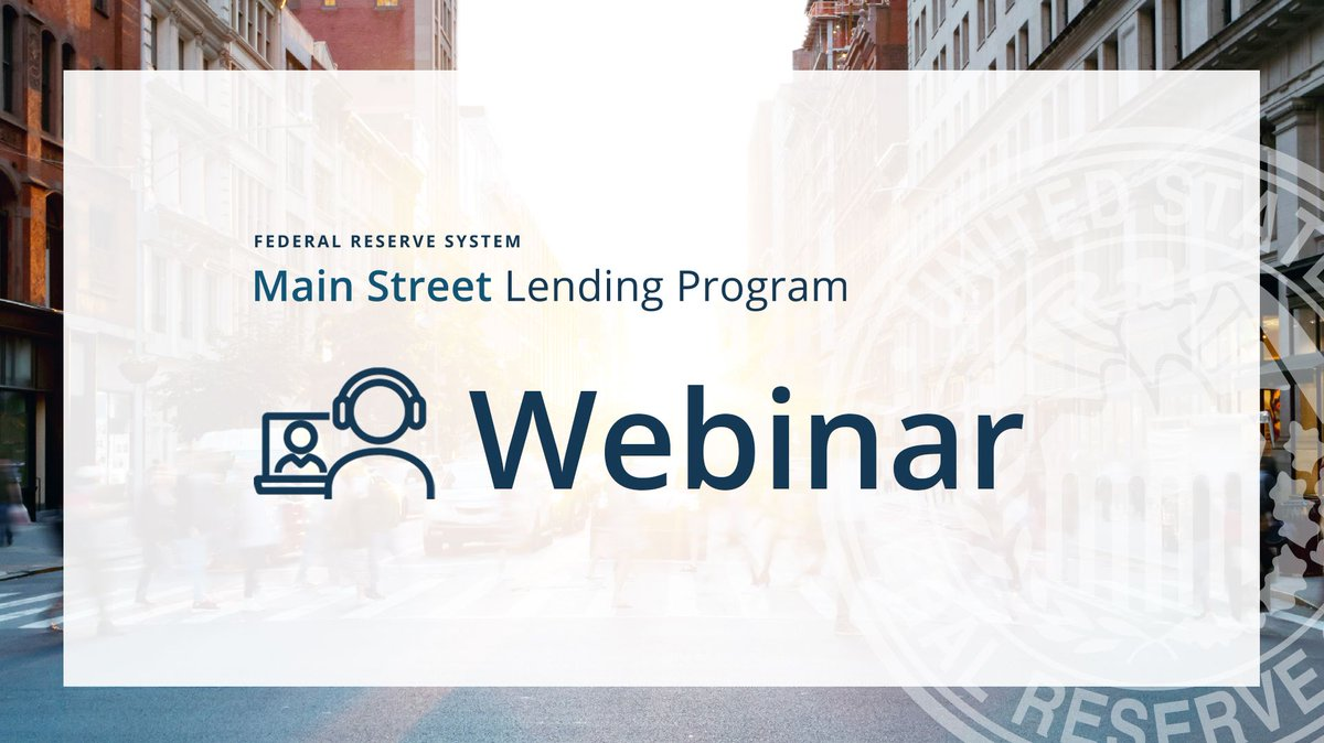 Businesses and nonprofits needing loans to bridge pandemic-related difficulties can register for a Main Street Lending Program webinar on Oct. 21 at 1 pm CT. Attendees will have the opportunity to ask #FederalReserve senior officials questions. Register: https://t.co/ddQ1deHvXB https://t.co/FJshTTINzh