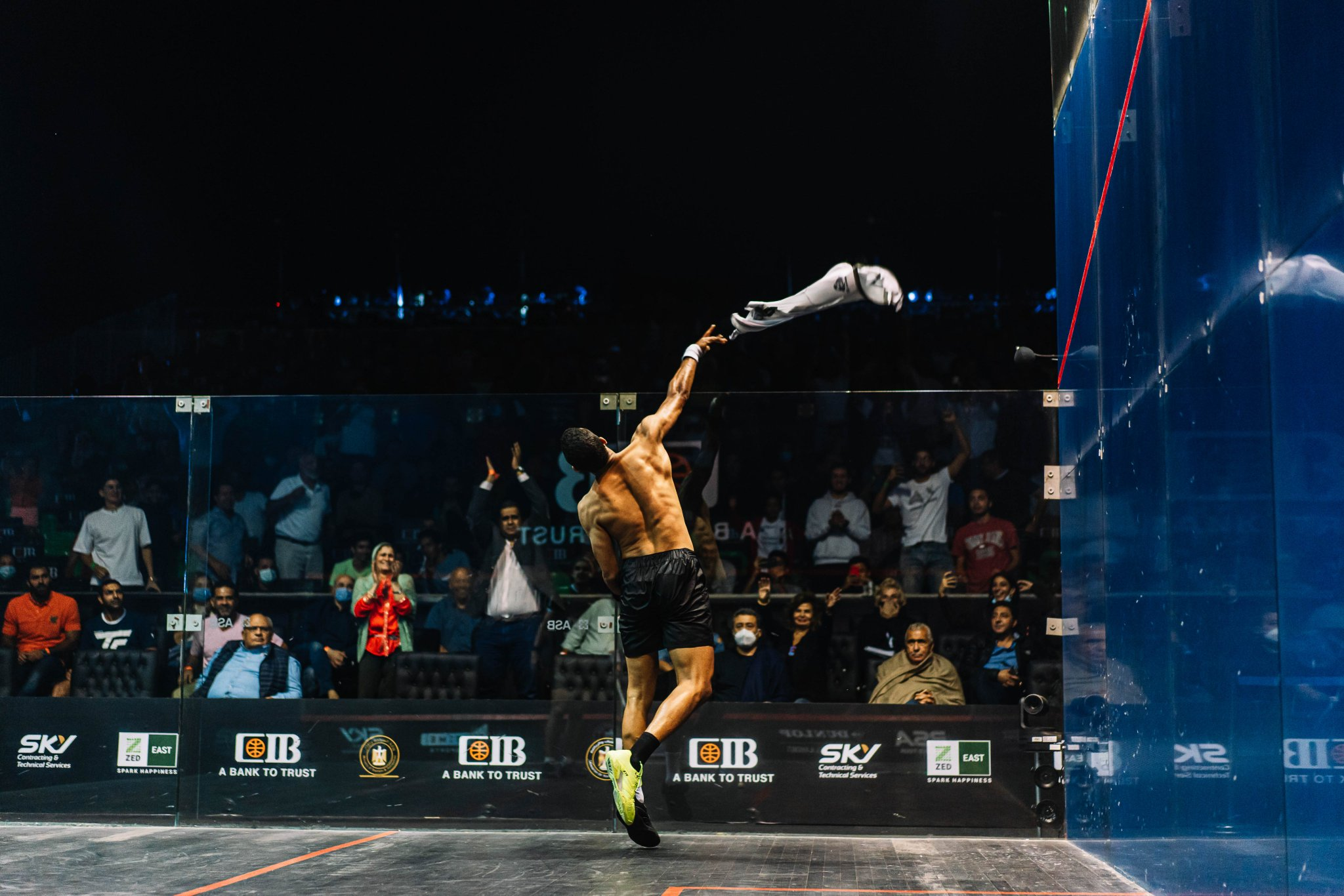 Mostafa Asal throws his shirt into the crowd at the CIB Egyptian Open