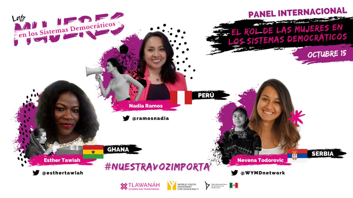 RT @WYMDnetwork: Because #NuestraVozImporta (#ourvoicematters) as young women in #democratic spaces!   Join us in making democracy more inclusive by being a part of the conversations! More details on the @tlawanah event on their page.   #DemocracyEmpower… https://t.co/eGugIf9DeJ