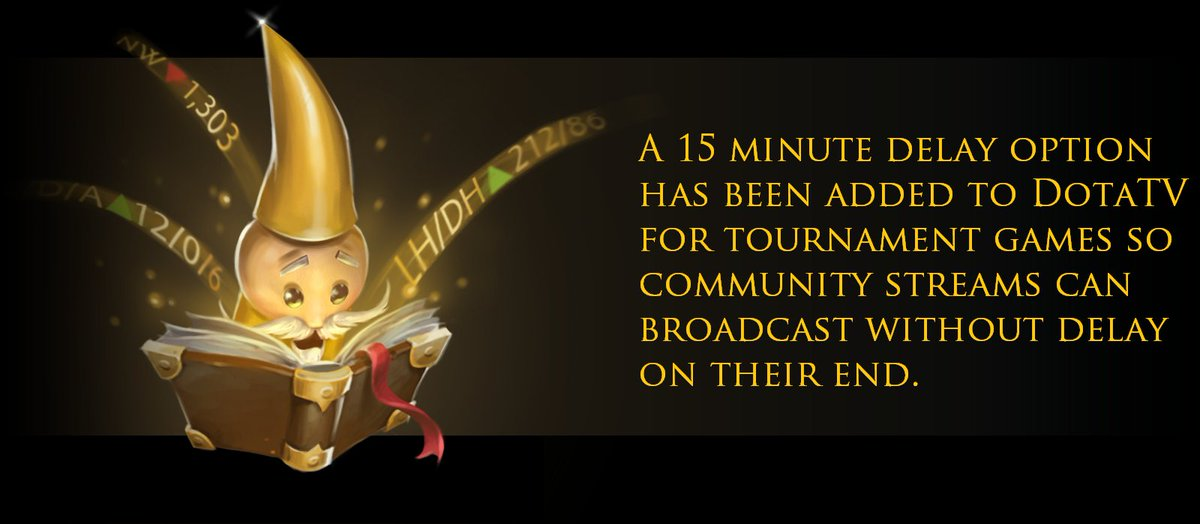 "Dota 2 on Twitter: ""A 15 minute delay option has been added to DotaTV for  tournament games so community streams can broadcast without delay on their  end. #DOTA2 #esports… https://t.co/BfTSKfwMvY"""