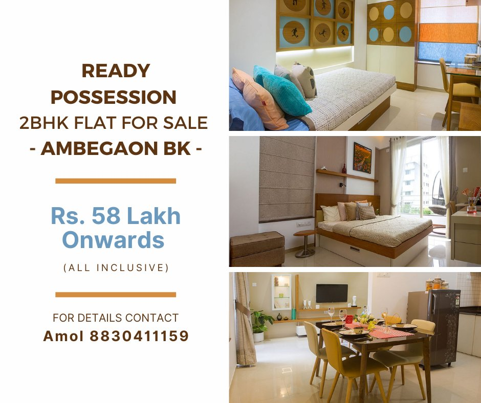 #Grabthedeal #makeahomewish #nobrokerage Book #Ready-possession 2 BHK flat in #Ambegaon-Budruk with all modern amenities for just Rs. 58 Lakh (all-inclusive*) that too without any #brokerage.  For more details call 8830411159 or send a direct message with https://t.co/IOghlcr9S8 https://t.co/wxwkHcakq3