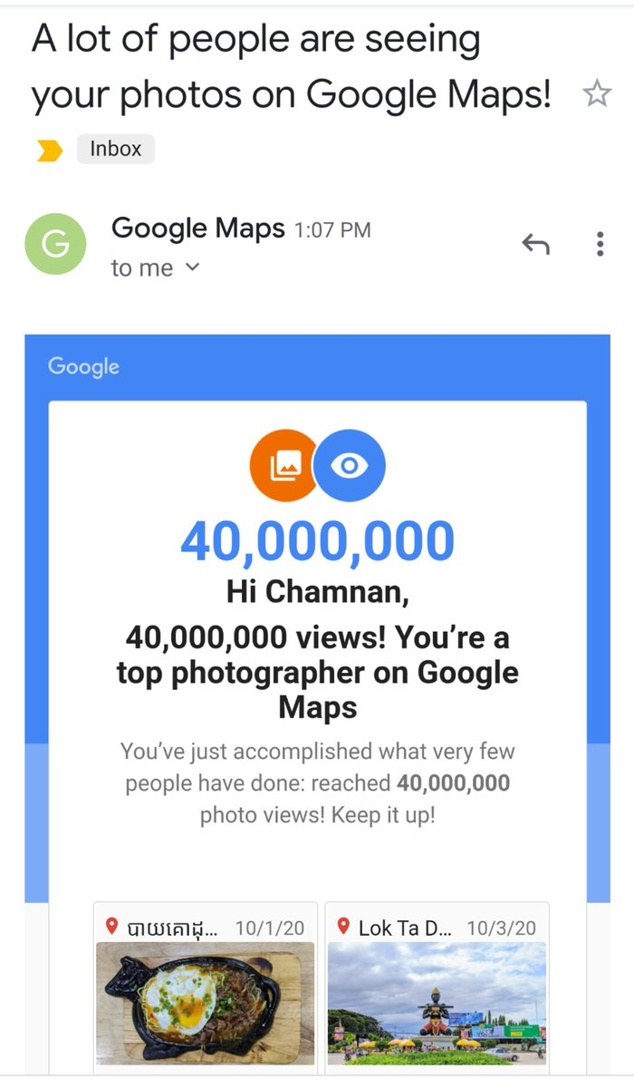 Reach another milestone for my 🖼️photos contribution on @googlemaps 🎉!  #LocalGuidesConnect #Photos #OnGoogleMaps https://t.co/vaKKCwuMdg