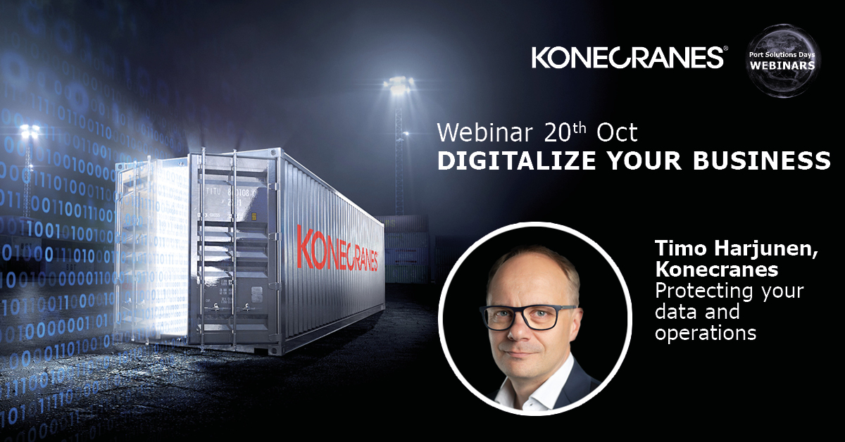 "Join our ""Digitalize your business"" #webinar on October 20 and hear from @HarjunenT how to secure your container handling operation by protecting the data it generates. Register here: https://t.co/i7dNAEtG5y #portsolutionsdays #digitalization https://t.co/8nMW3fuoBg"