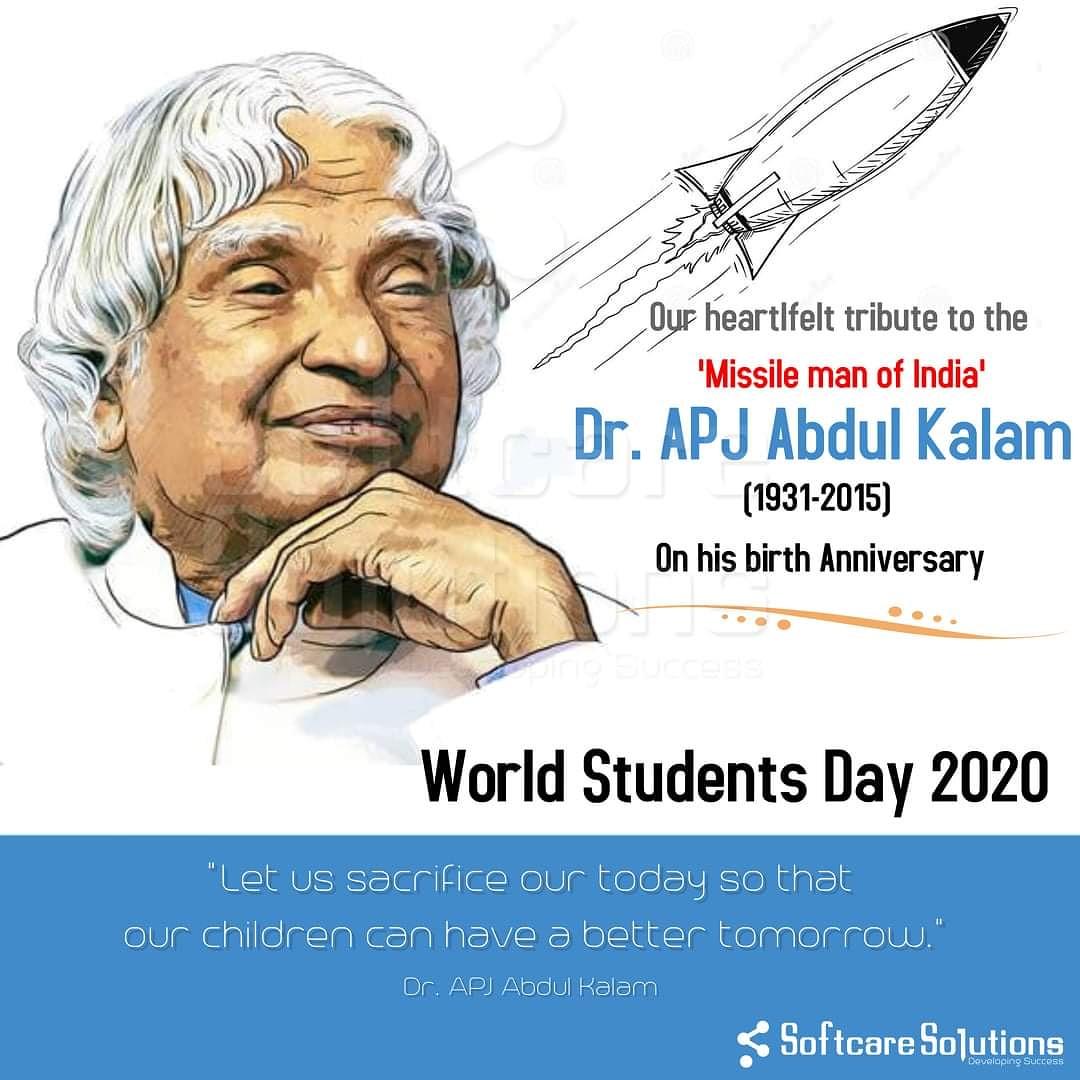 Remembering the visionary, people's president, Dr. APJ Abdul Kalam on his birth anniversary!!!  #apjabdulkalam #missilemanofindia #worldpostday #TeamSCS #Softcaresolutions #SCS #business #technology #webdesign #websites  #mobiledevelopment #programming #softwaredevelopment