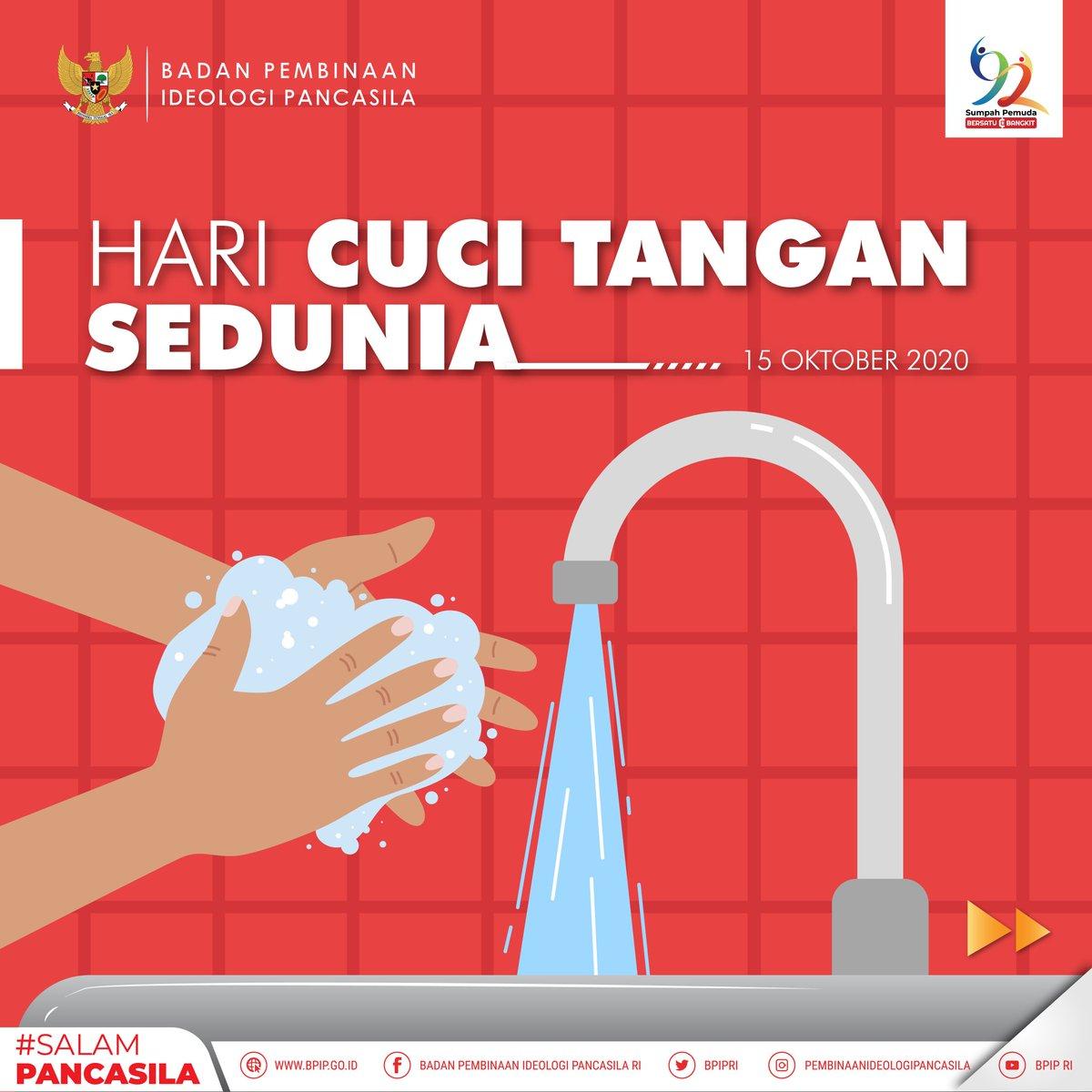 #SalamPancasila  Hai #SobatPancasila sudah tahu belum? Hari ini dunia merayakan Hari Cuci Tangan Sedunia.  Di masa pandemi seperti sekarang ini, sangat penting loh untuk kita mencuci tangan yang bersih sesuai dengan ketentuannya.  #HariCuciTanganSedunia #CeritaPancasila #BPIP https://t.co/eWcO00YKAR