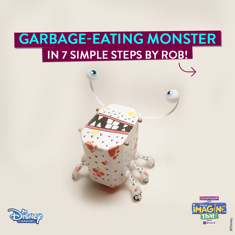 Join forces with Rob to create a cute monster out of your kitchen waste. 🥰 Things you need: Plastic oil can Cardboard Washers Straws Threads Skewers Plastic Spoons Hair Bands Balls More on #DisneyImagineThat every Sun at 9:30 AM on #DisneyChannel. #ImagineThatChallenge 💙