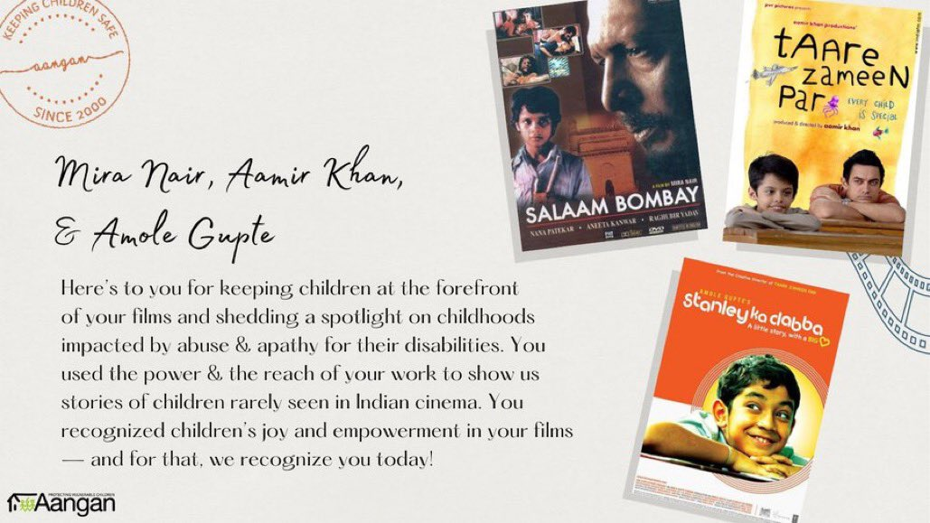 @MiraPagliNair, @aamir_khan & #AmoleGupte here's to you for prioritizing children rarely seen, much less heard of in Indian Cinema. As we commemorate #20YearsOfAangan we recognize you for keeping children's seemingly small stories at the forefront of your films on the big screen!