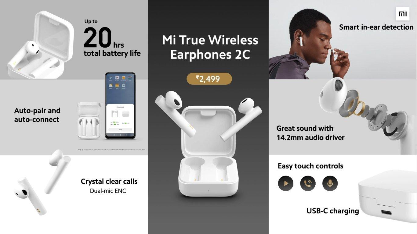 Mi 2C TWS Bluetooth Headset (White, True Wireless)