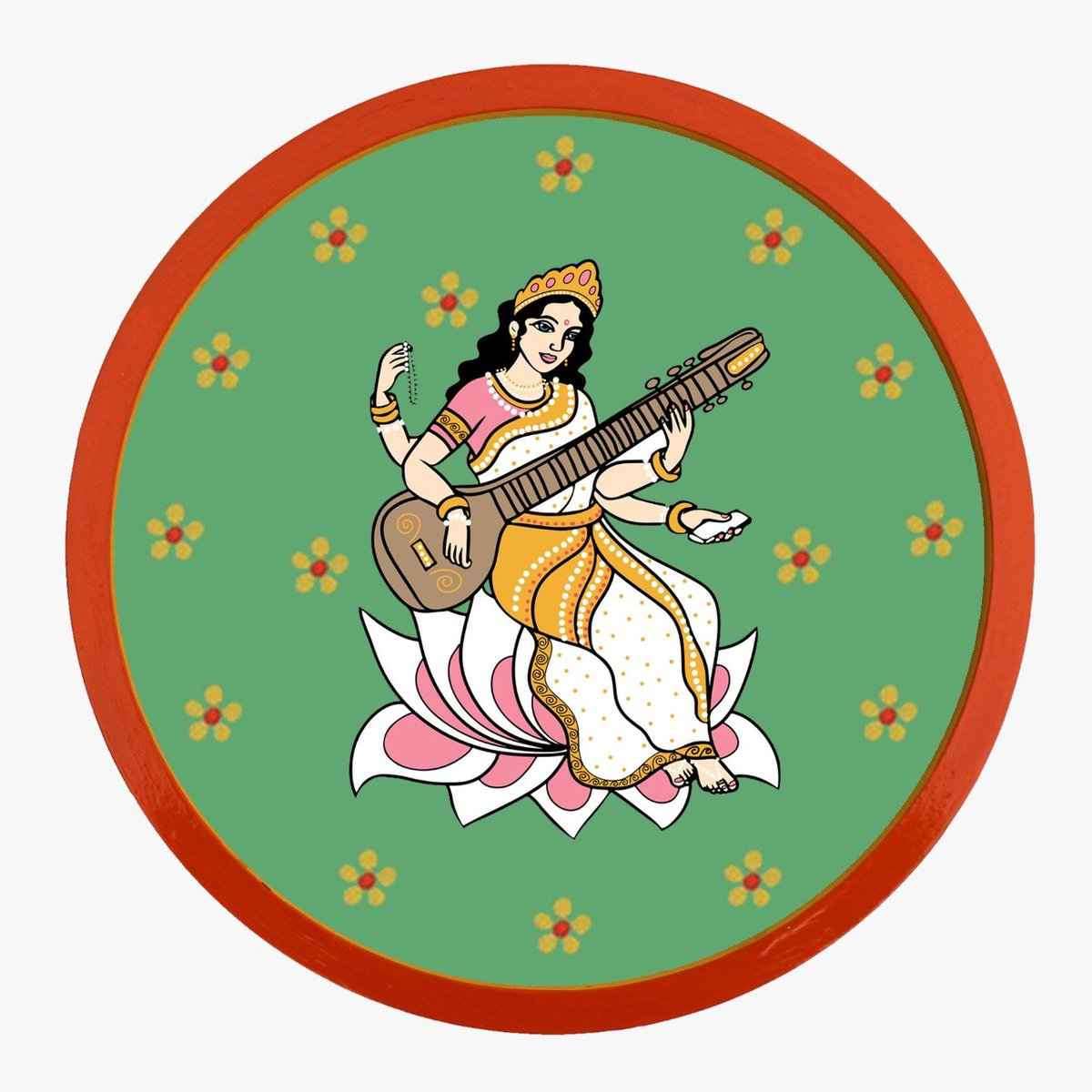 Goddess Saraswati on wooden plate- Painting of Goddess Saraswati- Wall Decor- Art Decor- Home Decor- Wall Hanging- Artwork- Art https://t.co/YvuvqinNkY #green #white #bedroom #artdeco #goddesssaraswati #hindugoddess #wallplate #woodenplate #decorativeplate #etsyshop https://t.co/MPNc5sloTa